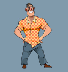 Cartoon character wide smiling broad shouldered vector