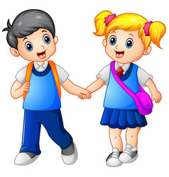 Cartoon girl and boy go to school together vector