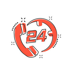 cartoon technical support 247 icon in comic style vector image