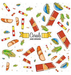 cereals and grains products pattern vector image