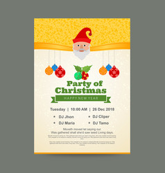 christmas party invitation card with golden vector