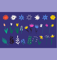collection flowers in a flat style wild flower vector image