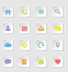 Colorful web icon set on white rounded rectangle vector