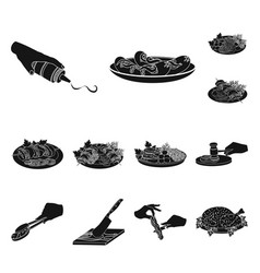 Cooking food black icons in set collection for vector