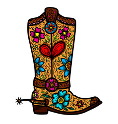 Cowboy boot with floral pattern design element vector