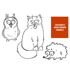 cute hand drawn cartoon cat owl hedgehog vector image