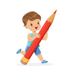 cute little boy holding giant red pencil cartoon vector image