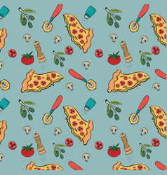 Delicious italian food pattern background vector ...