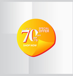 Discount label up to 70 special offer shop now vector