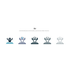 dj icon in different style two colored and black vector image
