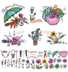 Doodle floral grouphand sketched element kit vector