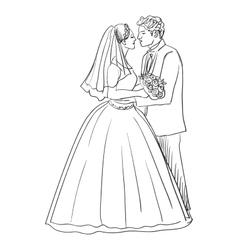 Doodle newlyweds vector