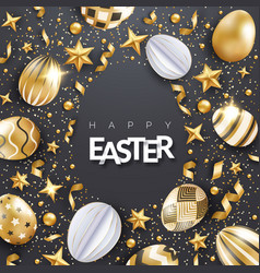 easter black background with realistic decorated vector image
