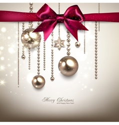 Elegant Christmas background with red bow and vector