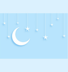 Elegant moon and stars background in papercut vector