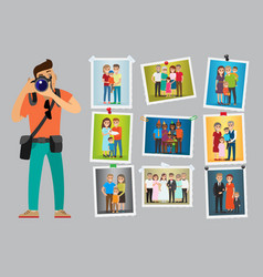 Family photo session of people at wedding parties vector