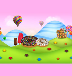 Fantasy candyland with dessrts and sweets vector