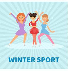 Figure skate winter sport vector