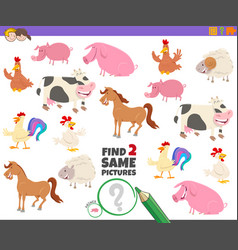 Find two same farm animal characters game for kids vector