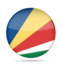 Flag of seychelles shiny round button vector