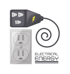 flat connecter and plug energy concept vector image