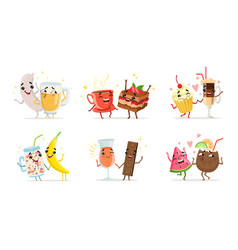 forever friends collection cute funny food and vector image