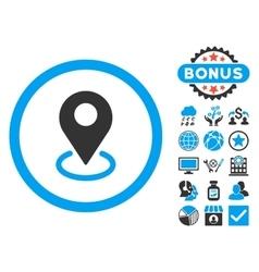 Geo Targeting Flat Icon with Bonus vector