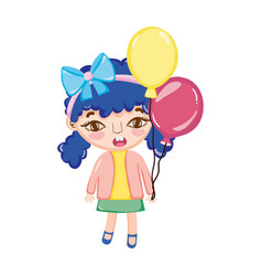 Girl child with two tails and balloons vector