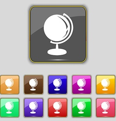 Globe icon sign Set with eleven colored buttons vector