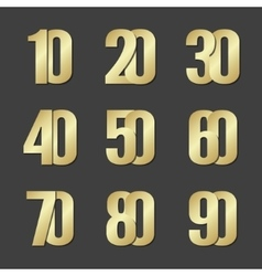 Gold font numbers vector