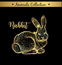 golden and royal hand drawn emblem of farm rabbit vector image