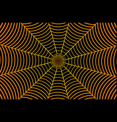 Golden spider web on black background vector