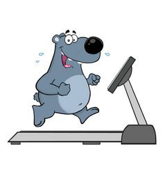 Gray bear character running on a treadmill vector