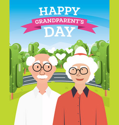 happy grandparents day greeting postcard vector image