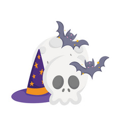 happy halloween skull moon bats and hat cartoon vector image