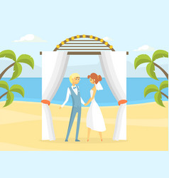 happy just married couple at wedding ceremony vector image