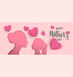 Happy mothers day paper cut mom and kid web banner vector