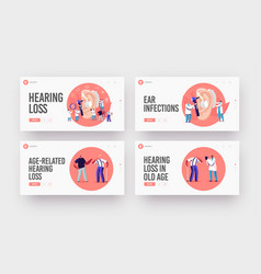 Hearing loss deafness landing page template set vector