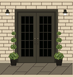 house door front with doorstep and window lamp vector image