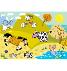 landscape with childish farm animals autumn season vector image