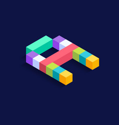 letter a isometric colorful cubes 3d design vector image