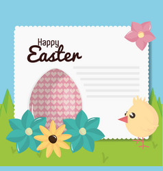 little chick with egg painted easter character vector image