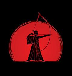 Man bowing kyudo archer sport man vector