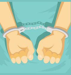 man in handcuffs detention criminal vector image