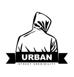 man in hoodie logo design urban design fight vector image
