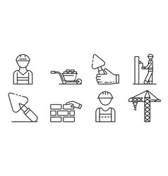 Masonry worker icons set outline style vector
