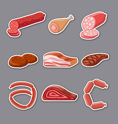 meat products stickers vector image