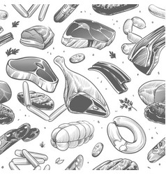 meat seamless pattern hand drawn different meat vector image