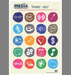 media and arrows web icons set drawn chalk vector image