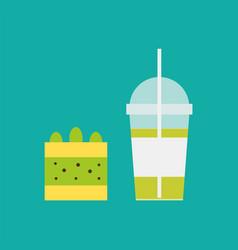 milkshake and piece cake with lemon and kiwi vector image